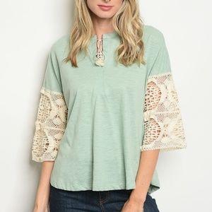 Tops - 3/4 sleeve round neckline crochet trim tunic top